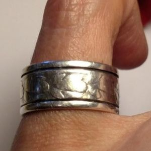 Jewelry - Antique Vintage Sterling Silver Feather Band Ring